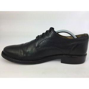 FRYE BLACK LEATHER CAP TOE OXFORDS DRESS SHOES